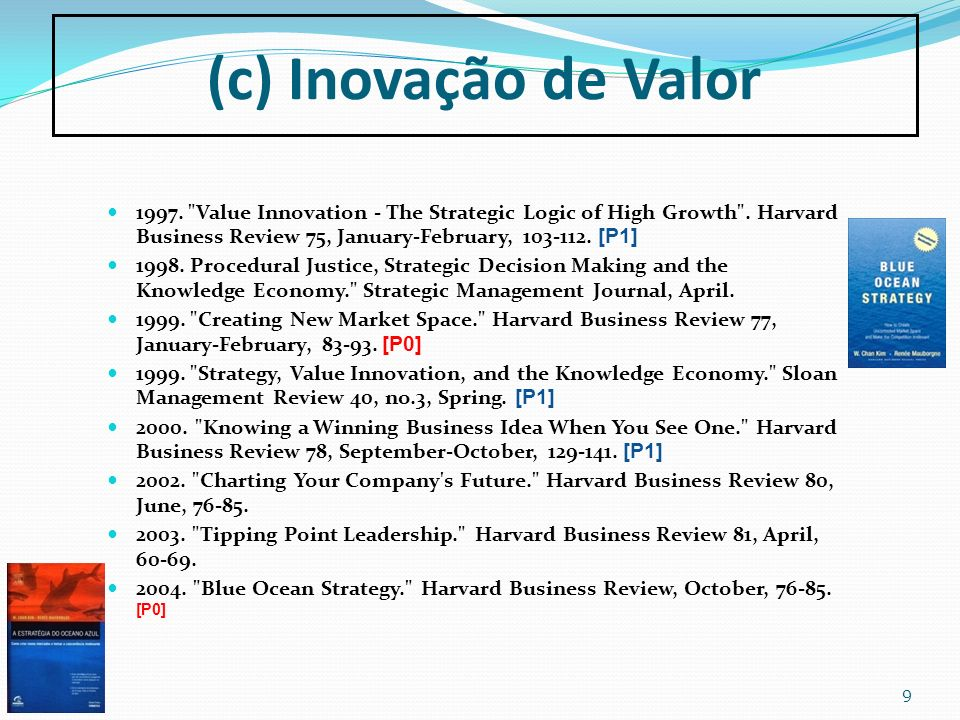 (c) Inovação de Valor 1997. Value Innovation - The Strategic Logic of High Growth . Harvard Business Review 75, January-February, 103-112. [P1]